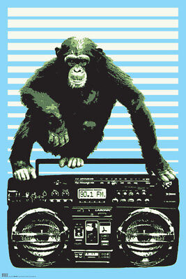 Steez Chimp Boombox Laminated Poster 61X91Cm Monkey Stereo Dj Mc New Licensed