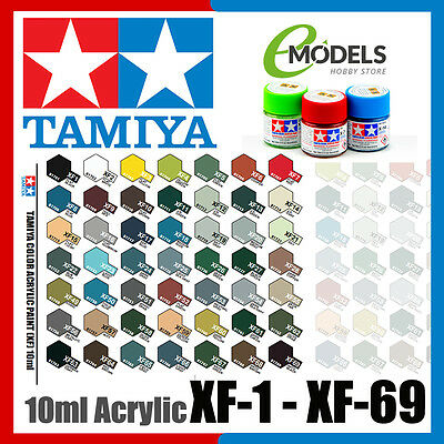 Tamiya 10ml Acrylic Paint XF-1 to XF-69 | Choose Your Colour: