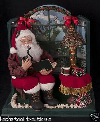 Holiday Creations Christmas Motionette Santa Sitting By Bay Window SEE VIDEO