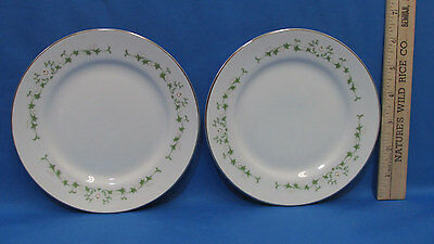 Set 2 Bread Plates Sheffield Fine China w/ Elegance Pattern White Floral Green