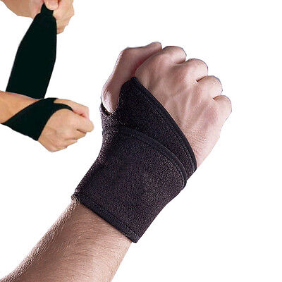 Black Wrist support adjustable velcro strap wrap brace sleeve MMA sprain injury