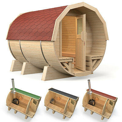 ISIDOR Barrel Sauna M2 Premium 2.96m with porch, optional heater selection