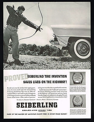 1957 Seiberling Car Tire Archer Bow Arrow Roscoe Reams Photo Vintage Print Ad