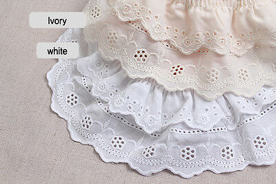 YH596 laceking2013 7.5cm Embroidery scalloped mesh net eyelet lace trim 3/""