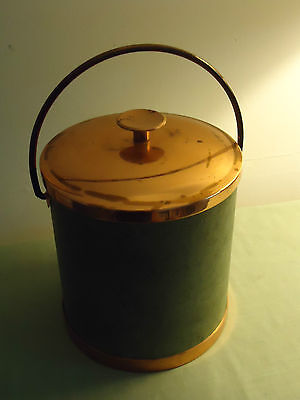 Old Coppercraft Guild Green Leather Copper  Ice Bucket