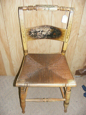 Vintage Turtle Back Hitchcock Dining Chair Original Paint and Stencil Rush Seats