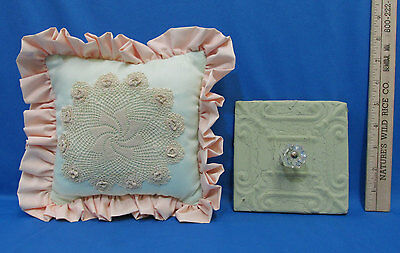 Vintage Clear Glass Knob Decorative Rack & Lace Doilie Mini Pillow Lot of 2