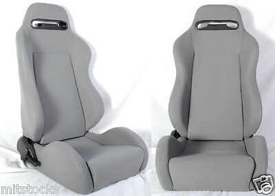 New 1 Pair Gray Cloth Racing Seats Reclinable W/ Sliders All Ford Mustang