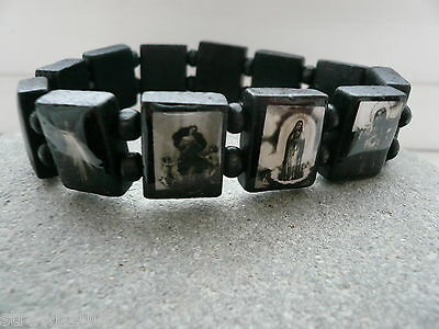 Jesus Saint Holy Religious Wood Stretchy Wristband/Bracelet Black & White