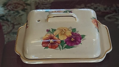 VINTAGE QUALITY CHINA FLORAL  BUTTER / CHEESE DISH by ARTHUR WOOD of ENGLAND #'D