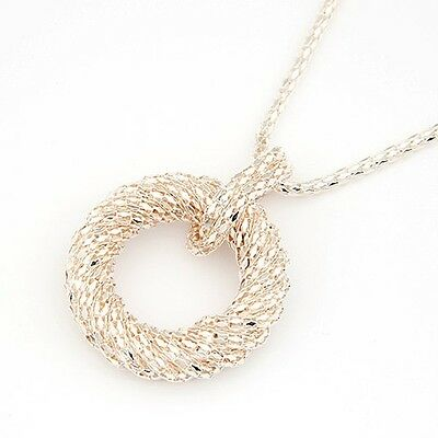New Woman Gorgeous Jewel Gold Metal Snake Necklace Round Pendant Vintge Chain