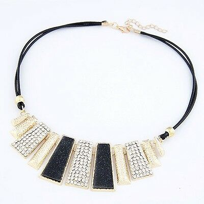New Woman Gorgeous Jewel Black Leather Necklace Black Square Crystal Pendant