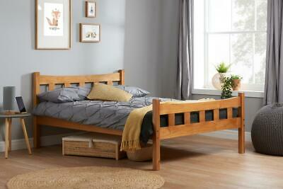 Miami Solid Wooden Bed 4FT6 135cm Double Bedstead in an Antique Pine Finish