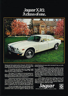 1975 Jaguar X-J12 XJ12 Luxury Car A Class Of One Print Ad