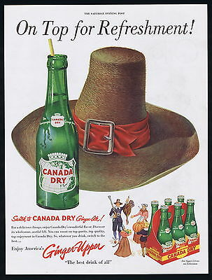 1951 Canada Dry Ginger Ale Pilgrim Hat Pumpkin  Turkey Musket Print Ad
