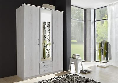 German Driftwood White Oak 3 Door 2 Drawer 135cm Mirror Wardrobe Shabby Chic
