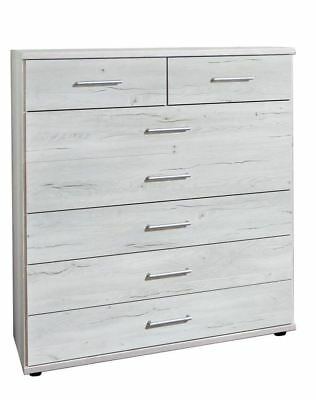 German Driftwood White Oak 5+2 Large Chest of Drawers Shabby Chic