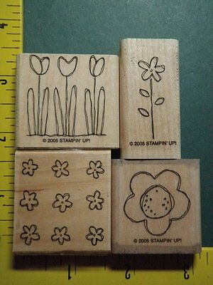 POCKET FULL OF POSIES FLOWERS Retired STAMPIN UP Rubber Stamp Set Lot