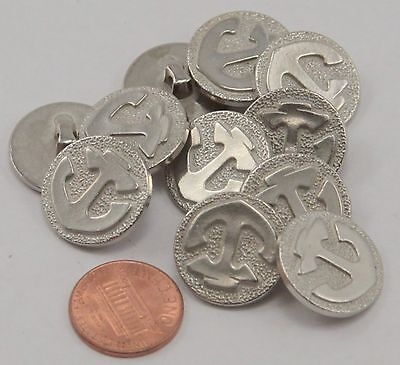 """Lot of 12 Silver Tone Plastic Anchor Nautical Buttons 3/4"""" 19mm  # 6651"""