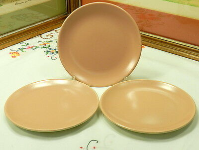 "3 RANCHO CATALINA ISLAND POTTERY 6"" RANCH CORAL MATTE BREAD AND BUTTER PLATES"