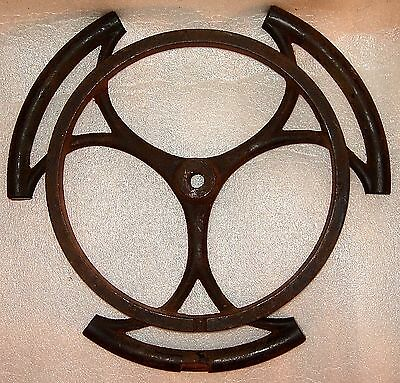 """STEAMPUNK VINTAGE INDUSTRIAL PRIMITIVE CAST IRON """"DRILL WHEEL OF LIFE"""" YEAR 1880"""