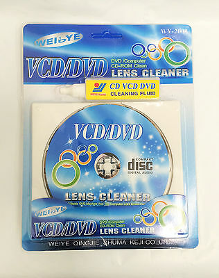 Compact Disc PLAYER CLEANER VCD CD DVD ROM Wet Dry Optical Disk Drive Fluid