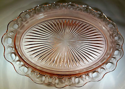 """Hocking Glass Co. Old Colony Lace Edge Pink 12-3/4"""" Long Oval Serving Platter!"""