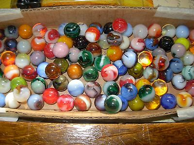 100 Assorted Glass Vintage Playing Marbles SH10