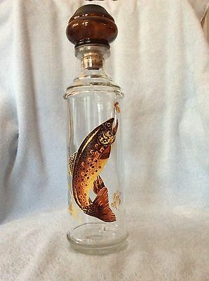 Vintage 1969 Cabin Still Collection Fish Theme Glass Liquor Bottle/Decanter