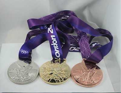 London 2012 Olympic gold,silver/bronze medals with silk ribbons & Display Stands