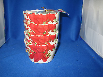 222 FIFTH WINTER HARMONY SET OF 4 BOWLS ~ DESSERT SNACK SMALL POINSETTIA HOLIDAY