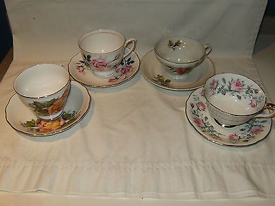 LOT OF 4 TEA CUPS & SAUCERS AYNSLEY ROYAL VALE COLCLOUGH SHAFFORD ENGLAND JAPAN