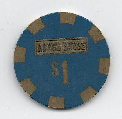 Old One Dollar Brass Inlaid Poker Chip from the Ranch House Casino Wells Nevada