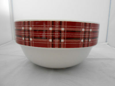 New Noble Excellence CRIMSON Red Plaid Porcelain Cereal Bowl
