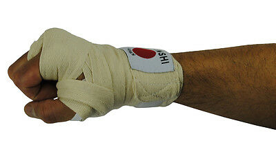 Cotton Hand Wraps [Natural] For Boxing MMa Muay Thai Inner Gloves (Pair) - New