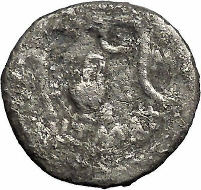 Ancient 46BC JULIUS CAESAR Battle of Thapsus Silver Roman Coin vs Scipio i44542