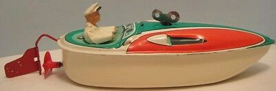 Antique Tin Wind Up Toy Speed Boat w Driver mFz Western Germany 1950s as is
