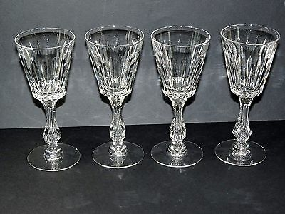 Tiffin Cut Crystal Wines (4) Trapped Bubble Stems * *