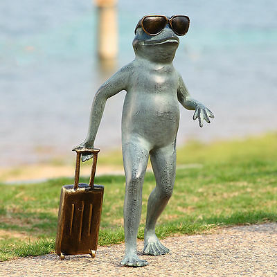 Traveling Frog Whimsical Metal Garden Sculpture Statue Suitcase Sunglasses
