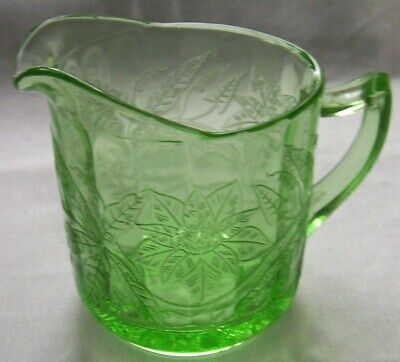 JEANNETTE GLASS CO. FLORAL POINSETTIA GREEN CREAMER or CREAM PITCHER!