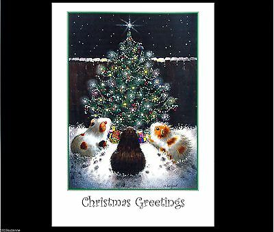 Guinea Pig art Christmas card hand made glittery from painting Suzanne Le Good