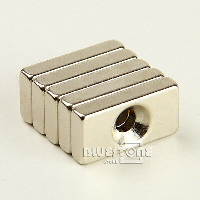 5pcs N35 Neodymium Block Strong Magnets 20mm x 10mm x 4mm Countersunk Hole 4mm