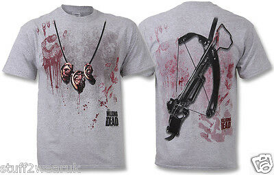 Official The Walking Dead T Shirt Dixon Ear Necklace OFFICIAL Grey Small