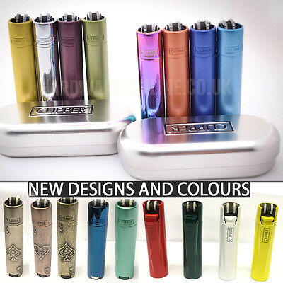 Genuine Metal Metallic Refillable Clipper Lighters  With Metal Gift Case Tin