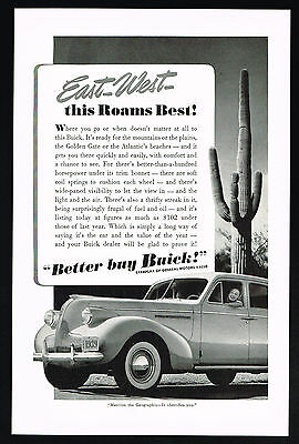 1939 Buick Car Better Buy Giant Cactus Vintage Print Ad