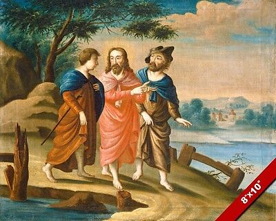 Jesus Christ On The Road To Emmaus Painting Bible Art Real Canvas Giclee Print