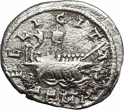 ELAGABALUS 218AD GALLEY Ship Authentic Ancient Silver Roman Coin i44573