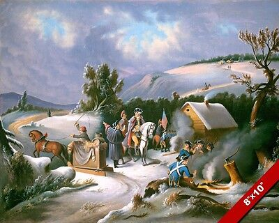 George Washington Winter At Valley Forge Us Revolution Painting Art Canvas Print