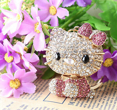 Lovely Pink Crystal Hello Kitty MiNi Key Ring  Fashion Purse Bag Decoration Gift