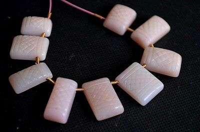 NATURAL PERUVIAN PINK OPAL CARVED  RECTANGLE GEMSTONE  43 CTS // 9 PCS #S5629